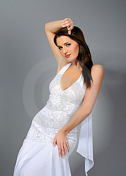 Beautiful Elegant Woman In White Dress Dancing Royalty Free Stock Photo - Image: 14188755