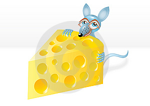 Mouse Is Stealing A Piece Of Cheese Stock Photography - Image: 14190362