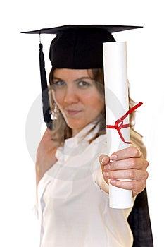 Young Woman Holding Graduate Diploma Stock Photo - Image: 14191260