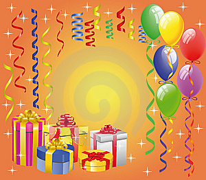 Balloon  With Streamers And Gift Boxes Royalty Free Stock Images - Image: 14191439