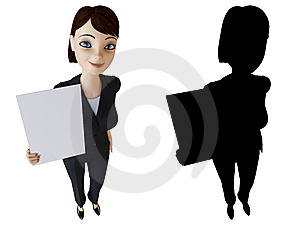 Woman Holding A White Panel Stock Images - Image: 14192354