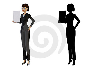 Woman Holding A White Panel Royalty Free Stock Photography - Image: 14192367