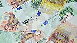 50, 100 And 200 Euro Banknotes Background Royalty Free Stock Photography - Image: 14192417