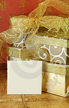 Gift Boxes And Blank Card Stock Image - Image: 14192681