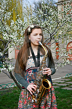 Beautiful Girl With Saxophone Stock Photography - Image: 14192702