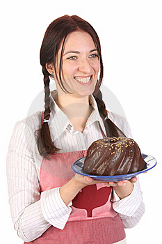 Housewife  With Bundt Cake Royalty Free Stock Image - Image: 14192836