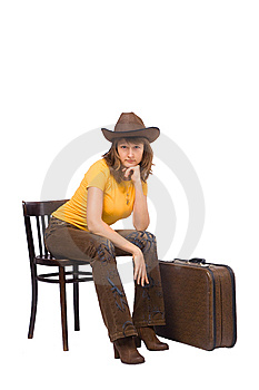 Girl With Vintage Suitcase Is Ready To Go Stock Image - Image: 14193541