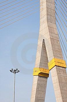 Lamp And Bridge On The Blue Sky Stock Photo - Image: 14194270