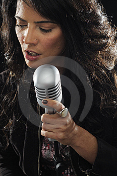 Young Female Singer With Retro Mic Royalty Free Stock Photos - Image: 14195168