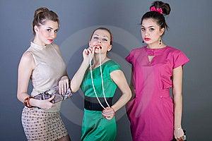 Three Happy Retro-styled Girls Royalty Free Stock Photos - Image: 14197368