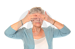 Senior Older Woman Covering Eyes Stock Image - Image: 14197961