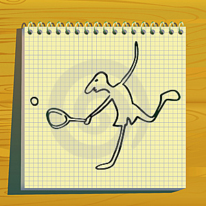 Tennis Player Doodle Silhouette. Royalty Free Stock Image - Image: 14199976