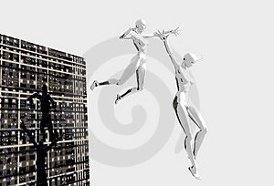 Platinum Girls Leaping Royalty Free Stock Photography - Image: 1426217