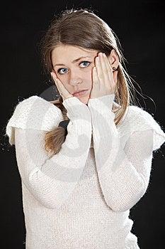 Beautiful Young Woman Blonde Dark Blue Eyes Stock Photo - Image: 14200480