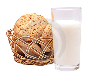 Thin Captain In A Basket And Milk Stock Image - Image: 14201421