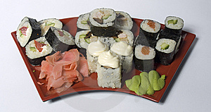 Rolled And Sushi Royalty Free Stock Image - Image: 14202346