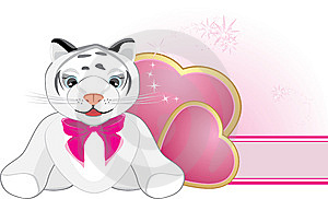 Little Tiger With Pink Bow And Hearts. Banner Stock Photos - Image: 14203793