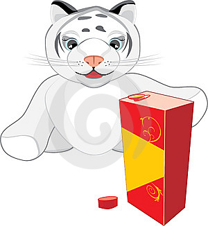 Little Tiger With The Package Of Juice Stock Photo - Image: 14203970