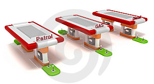 Three Red Filling Stations Isolated On White Royalty Free Stock Photo - Image: 14205285