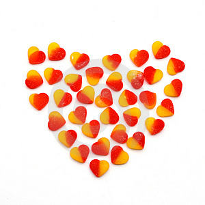 Heart From Fruit Candies Hearts On White Stock Photo - Image: 14208520