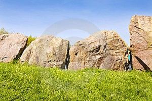 UNESCO - Circle Of Stones At Newgrange Royalty Free Stock Photography - Image: 14208867