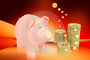 Piggy Bank And Gold Royalty Free Stock Images - Image: 14209969