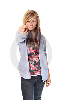 Attractive Young Teenage Girl Pointing Stock Image - Image: 14210661