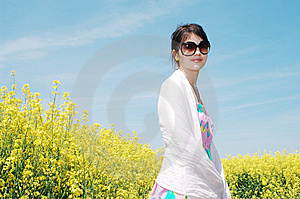 Girl And Flowers Royalty Free Stock Image - Image: 14212676