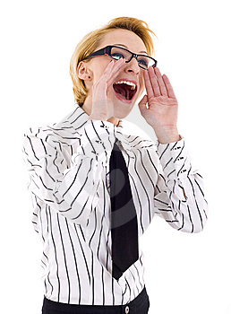 Business Woman Shouting Royalty Free Stock Photo - Image: 14213035