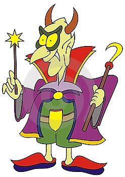 Magician Wonderer With Magic Wand Caricature Stock Photography - Image: 14213112