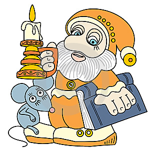 Good Gnome With A Book, A Mouse And A Candle. Stock Photography - Image: 14215272
