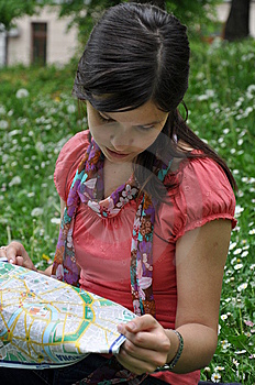Beautiful Girl With A City Map Stock Photo - Image: 14215630