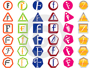 Letter F Icons Badges And Tags Stock Photos - Image: 14216093