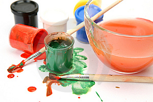 Paints And Brushes Stock Image - Image: 14216141