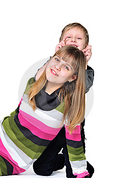 Fun Of Sister And Brother Royalty Free Stock Image - Image: 14219646