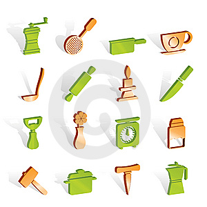 Kitchen And Household Tools Icons Royalty Free Stock Photo - Image: 14220615