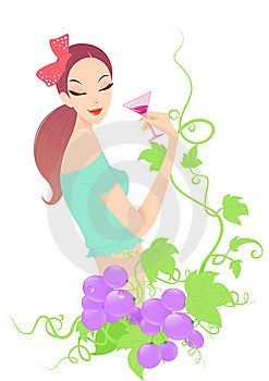 Girl Drinking Wine With Grape Royalty Free Stock Photo - Image: 14221715