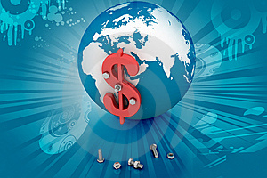 3d Globe Dollar Sign Stock Images - Image: 14222814