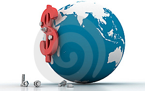 3d Globe Dollar Sign Stock Images - Image: 14222874