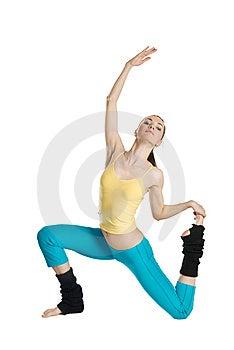 Beautiful Girl Doing Gymnastics On White Royalty Free Stock Photo - Image: 14223875