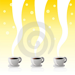Coffee Cups Yellow Poster Royalty Free Stock Photo - Image: 14225015