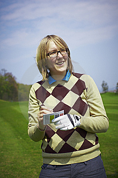 Golfer Woman Writing Handicap Stock Images - Image: 14225814