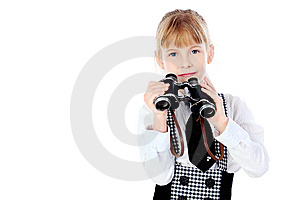 Girl With A Binocular Stock Images - Image: 14233424