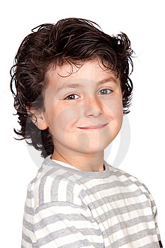 Funny Child With Striped Sweater Stock Images - Image: 14234214