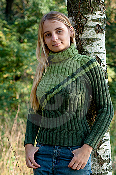 Girl In Green Pullover Stock Photos - Image: 14235033
