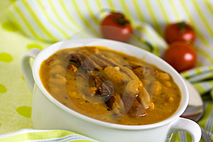 Beans And Roasted Pork Bacon With Chili Pepper Stock Photography - Image: 14235562