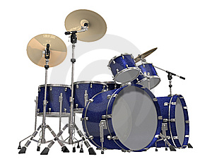 Drum Kit Isolated On A White Royalty Free Stock Images - Image: 14236369