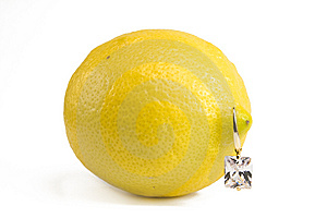 Lemon With Diamond Earring Stock Images - Image: 14236964