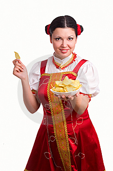 German/Bavarian Woman With Potato Chips Royalty Free Stock Photography - Image: 14238517