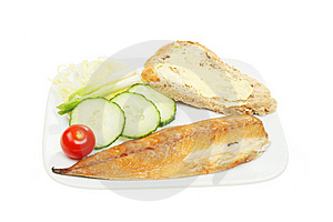 Smoked Mackerel Salad And Bread On A Plate Royalty Free Stock Images - Image: 14240849